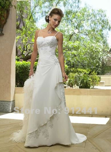 Free shipping Charming Spaghetti Straps Soft satin Lace up Chapel Train Wedding Dress Bridal Gown 2226