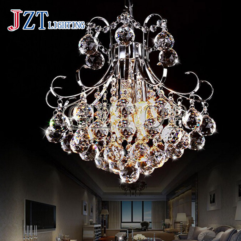 T European Rural Style Crystal Pendant Light With LED Bulbs Modern Simple Circular Sweety Porch Light For Foyer Home Restaurant