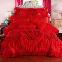 4/6/9 pcs red pink Jacquard Silk Cotton Luxury wedding Bedding Set King Size Queen Bed Set Lace Duvet Cover Bed Sheet Pillowcas