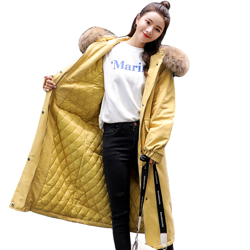 New Design 2019 Winter Jacket Women With Faux Fur Hooded Outwear Women   Down     Coat   Oversize Loose Female Parka Fashion