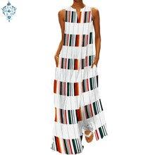 Ameision Women Stripe Plaid Maxi Dress 2019 Summer Sexy V Neck Sleeveless Casual Floor-length Patchwork Vestidos Plus Size 5XL