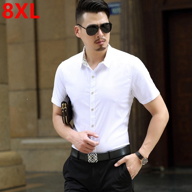 Plus size male short-sleeve solid color shirt electric The new summer add fertilizer increased men's Short Sleeve Shirt