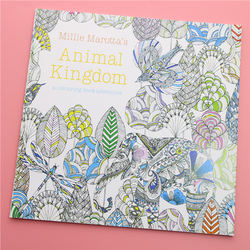 24 Pages Animal Kingdom English Edition Coloring Book For Children Adult Relieve Stress Kill Time Painting Drawing Book