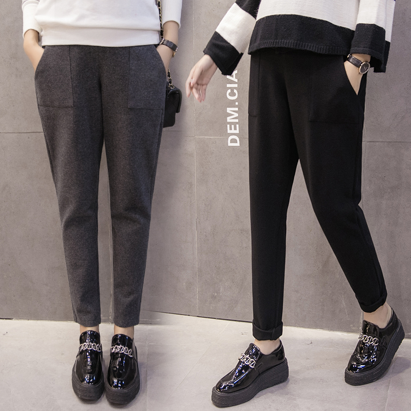 Pregnancy Pants Fashion Autumn Winter Solid High Waist Pockets Maternity Trousers Fall Casual Lace-Up Pants For Pregnant Women