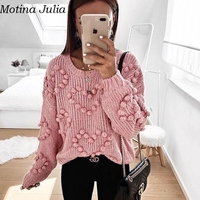Motina Julia sexy pom pom heart knitted sweater women Autumn warm knitted jumper female Sexy kntting sweater top