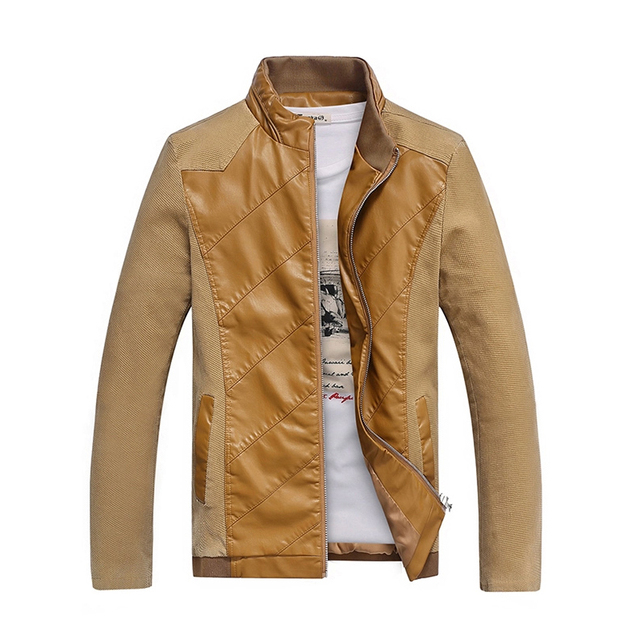 men casual jacket pu slim fit male leather coat  motorcycle overcoat 3XL 4XL 5XL ACL42