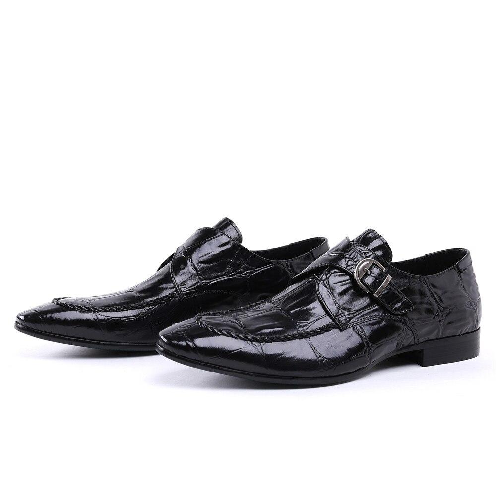 Крокодил зрна смеђе тан / црне менс - Мушке ципеле - Фотографија 5
