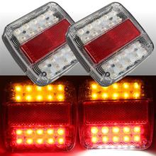1Pair 20LED Car Rear Tail Lights with Number Plate Light for 12V Truck Trailer Caravan RV Red Yellow