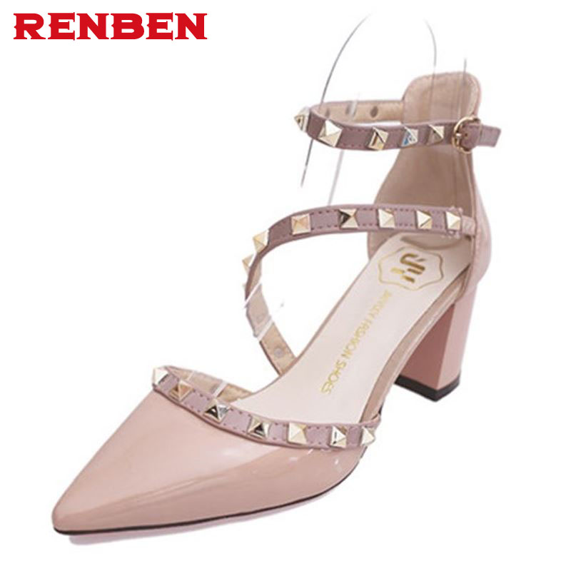New 2108 Hot Women Pumps Ladies Sexy Pointed Toe High Heels Fashion Buckle Studded Stiletto High Heel Sandals Shoes Large Size hot 2016 new fashion t strap buckle pumps women high heels ladies sexy pointed toe summer party wedding patchwork shoes sandals