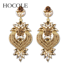 HOCOLE Latest Style Elegant Heart With Flower Crystal Earrings Fashion Alloy Rhinestone For Women Jewelry Wholesale