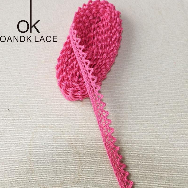 HTB1 h0yObvpK1RjSZPiq6zmwXXaJ 5 yard25MM Cotton lace fabric for home decoration Garment accessories Home textile materials DIY manual dentelleRose and Pink