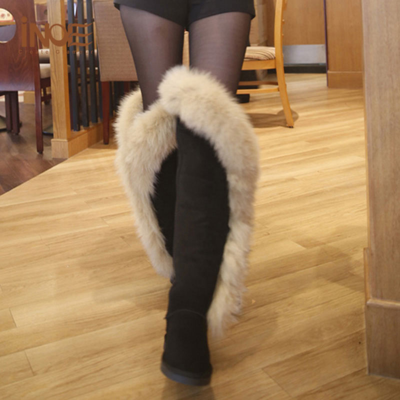 real fox fur boots black leather womens thigh high boots