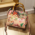 women high quality pu leather print flower bamboo bag vintage fashion shoulder crossbody messenger small flap bag handbag