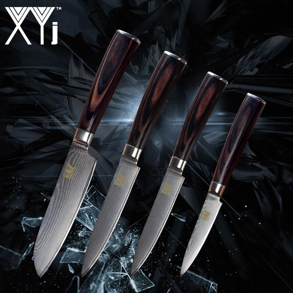 XYj Coltello Da Cucina In Acciaio di Damasco VG10 Core Sharp Lama di Frutta Utility Coltello Santoku Nuovo Arrivo 2018 Accessori di Cottura Strumento