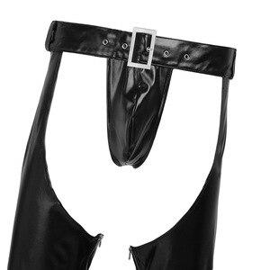 Image 2 - YiZYiF הומו Mens סקסי הלבשה תחתונה Fuax עור נמתח מפשעת רוכסן הדוק מכנסיים חותלות מכנסיים חלולים החוצה עם חוטיני