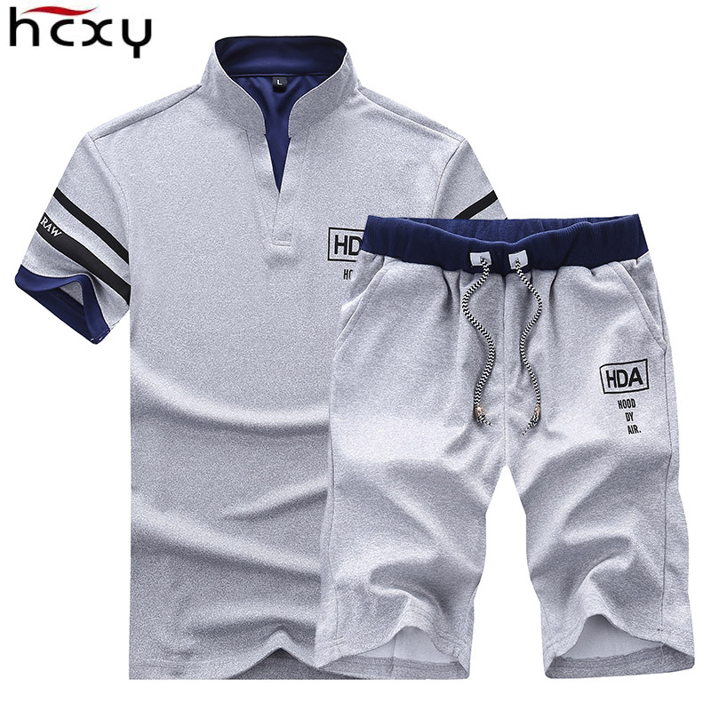 HCXY 2019 Men's Summer Sets   Shorts   +   Short   sleeve t shirt Men Beach   Shorts   Tee Male Elastic waist   Shorts   homme Solid color