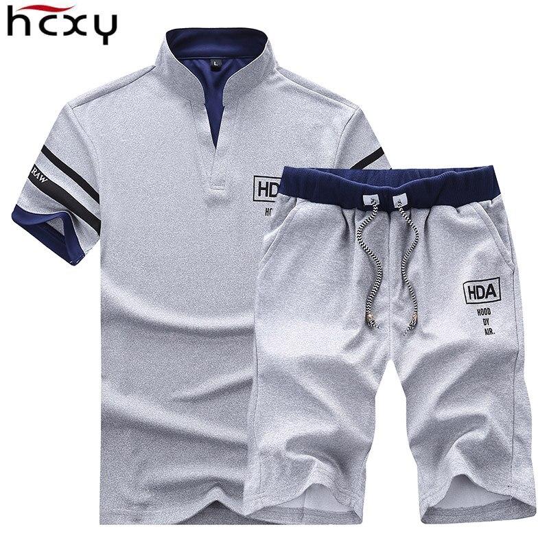 HCXY 2019 hommes d'été ensembles Shorts + manches courtes t shirt hommes plage Shorts Tee homme taille élastique Shorts homme couleur unie