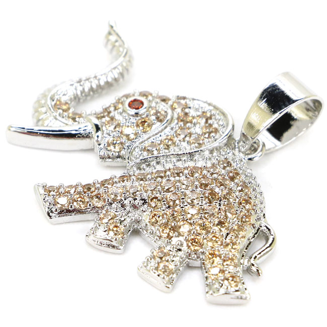 Великолепный слон цитрин женские свадебные 925 Серебряный кулон 33x27 мм