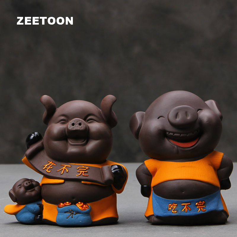 Cute Changeable Pig Figurine Cartoon Piggy Bank Office Tabletop Yixing Money Boxes Ceramic Home Decor Childrens Birthday Gift