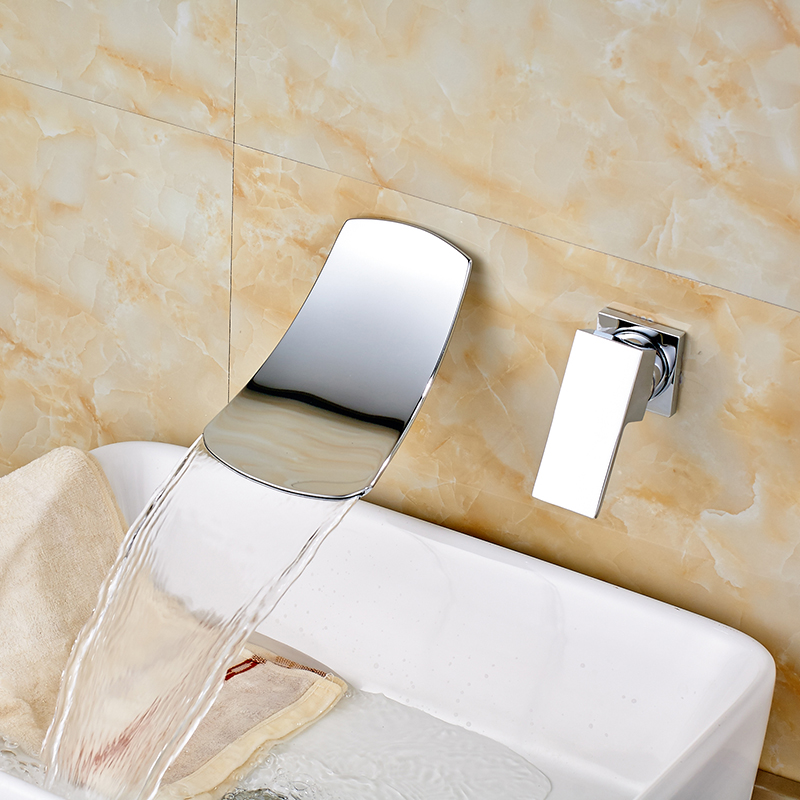 ФОТО Contempoaray Bathroom Sink Faucet Single Handle Hot and Cold Water Solid Brass Chrome Polished