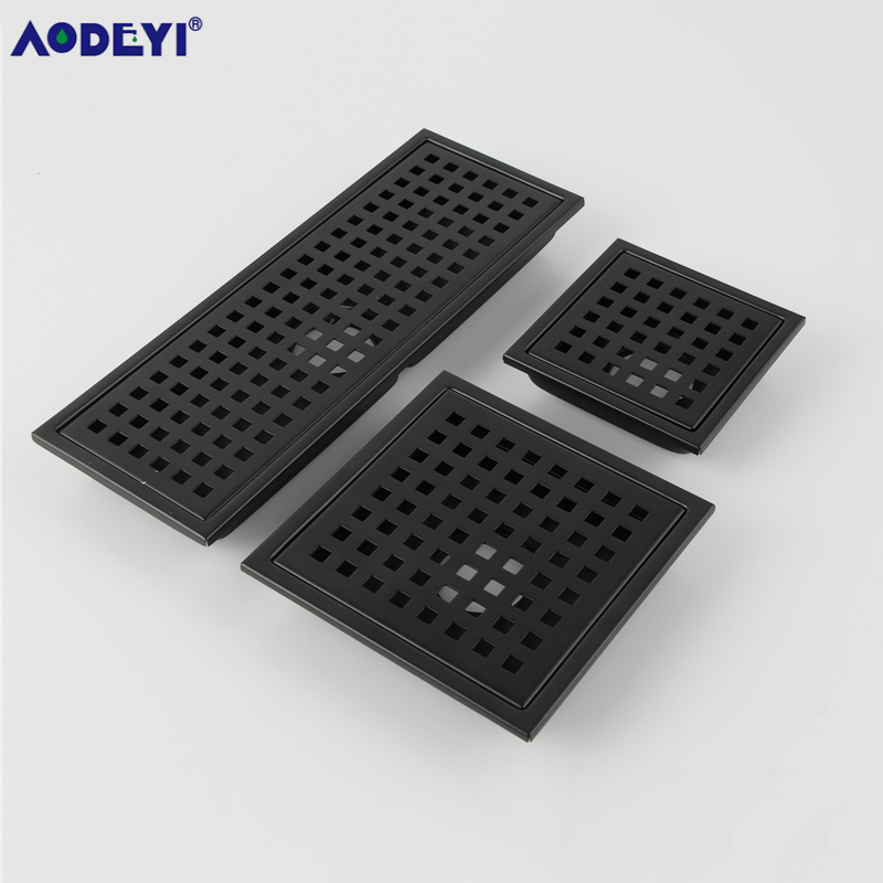 AODEYI Black SUS 304 Stainless Steel Shower Floor Drain Strainer, 4.3/6/12 Inch Square Grid Anti-odor Pipe Drain 11-222