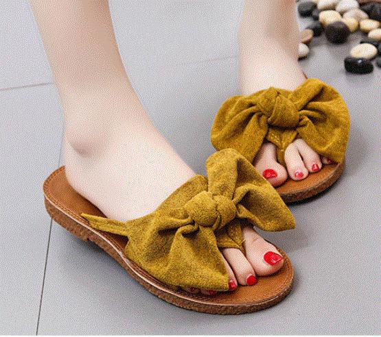 Summer Hot Sale Women Flip Flops Fashion Solid Color Bow -9464
