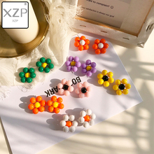 XZP Korean Jewelry Cute Needle Handmade Colorful Flower Big Stud Earrings Fresh Candy Color Simple South Kim Hyuna 2019