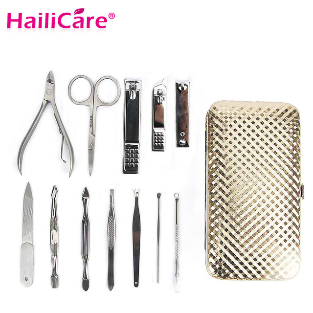12 Pcs Manicure Set Tools Nail Clipper Scissors Tweezer Pedicure Art Kit Stainless Steel