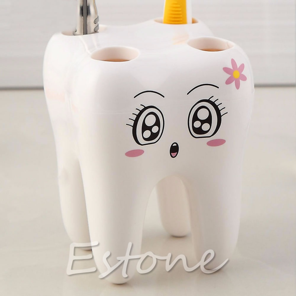 Novelty 4 Hole Tooth Style Toothbrush Holder Lovely Cute Cartoon Design Bathroom image