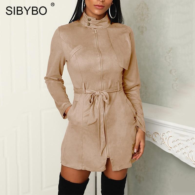 Sibybo Suede Leather Turtleneck Autumn Women Coat Long Sleeve Zipper Sashes Casual   Trench   Coat for Women Pockets Coats Female