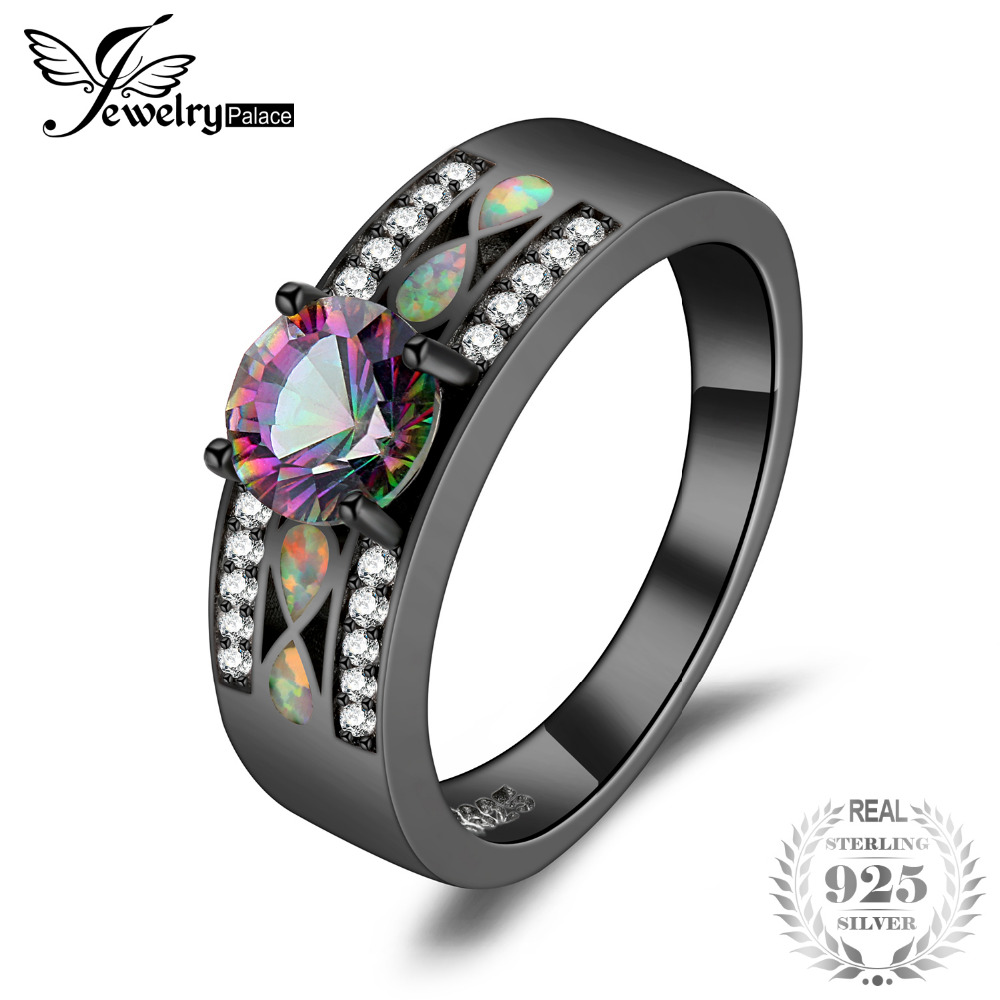 JewelryPalace Fashion Mystic Quartz Created Opal Band Ring 925 Sterling Silver best gift for girlfriend birthday presentJewelryPalace Fashion Mystic Quartz Created Opal Band Ring 925 Sterling Silver best gift for girlfriend birthday present
