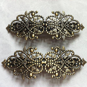 Metal Hairpin Jewelry-Accessories Hair-Barrettes Filigree Flower Bronze French Antique