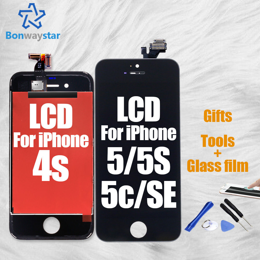 Black White Color LCD Display For iPhone 5 5s Touch Screen Replacement AAA+++ Quality No Dead Pixel LCD for iPhone 4s 5c SE ...