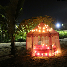 135*140cm Baby Hexagonal Princess Castle Play House Tent Lodge With LED Twinkle Star Lights Children Outdoor Garden Mosquito Net
