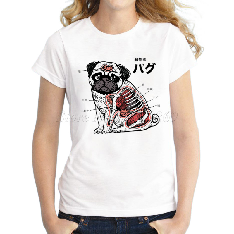 Pug anatomy fashion design women funny t shirt cartoon pug for Designer tee shirts womens