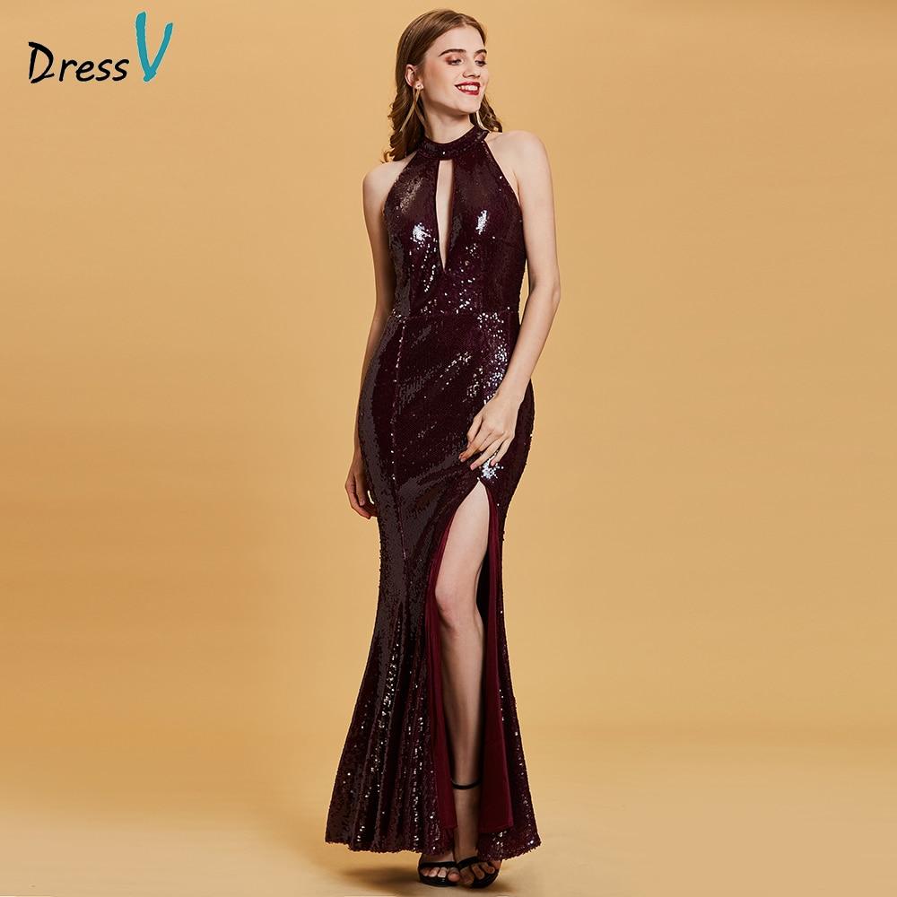 Dressv burgundy   evening     dress   cheap halter neck seuqins split-front trumpet wedding party formal   dress   mermaid   evening     dresses