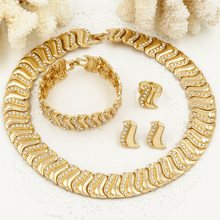2017 CZ Mothers Gift Wholesale 2016 Charms jewelry Sets Yellow Golden Plated Wedding Necklace Earrings Dubai African Jewelry set(China)