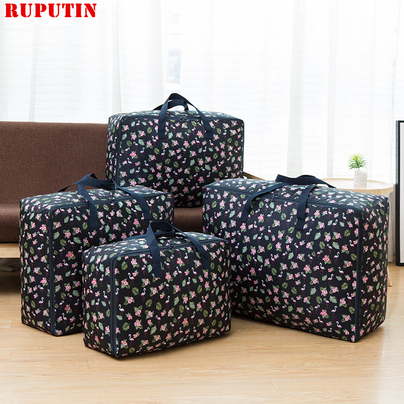 RUPUTIN New Large Capacity Travel Bag Cotton Linen Quilt Organizer Storage Waterproof Bags Moisture-proof Cabinet Finishing Box
