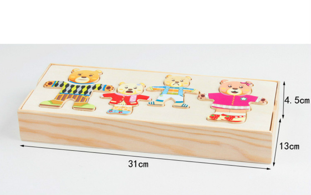Image 5 - 72pcs Cartoon 4 Rabbit Bear Dress Changing Jigsaw Puzzle Wooden Toy Montessori Educational Change Clothes Toys For Children Gi-in Puzzles from Toys & Hobbies