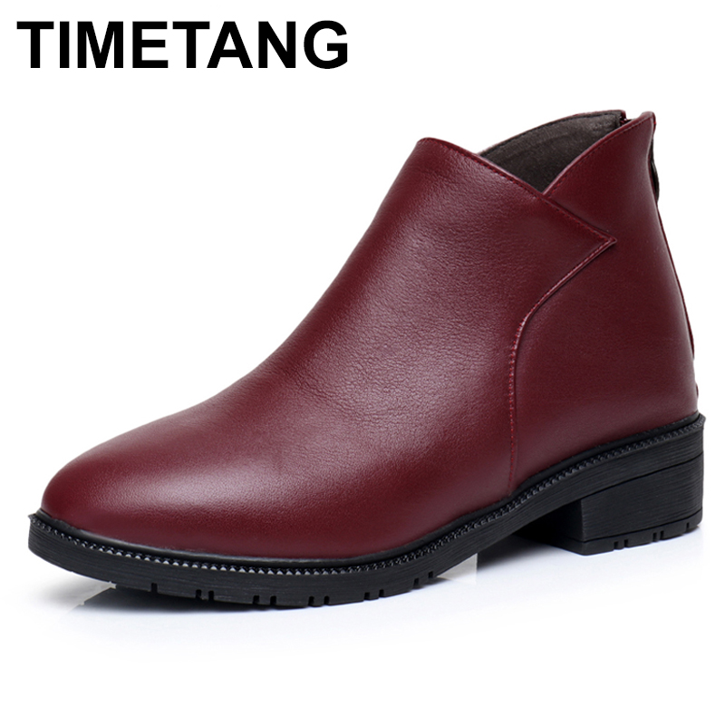 TIMETANG   2017 Autumn Winter Women Shoes Genuine Leather Women Boots Square Heels Ankle Boots Woman Shoes fashion Boots