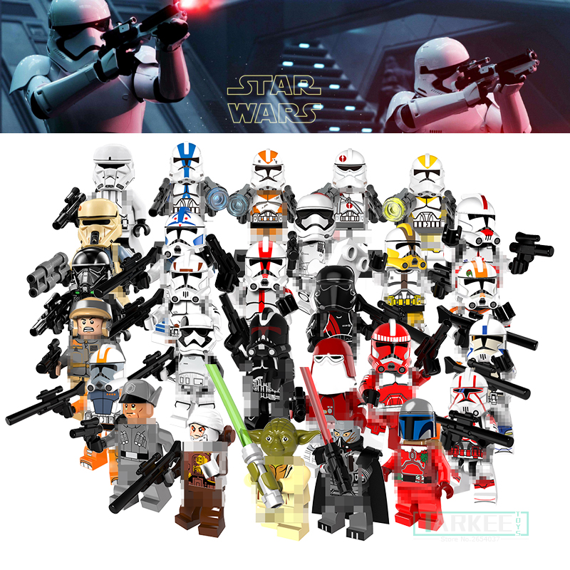 Single Sale Clone Trooper Soldiers Figures Building Blocks Toys Stormtrooper Commander Model Star Wars Kids DIY Bricks Toys Gift 3pcs set imperial hovertank pilot death trooper shoretrooper diy figures starwars superheroes building blocks new kids toys xmas