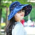 2016 de Moda de Verano Plegable Grande Ancho Brim Floppy Beach sombrero de Impresión Ocasional Anti-Ultravioleta Femenino Del Sombrero Del Sol Al Aire Libre Casquillo de la Señora 1846