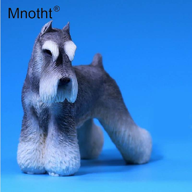 Mnotht 1/6 Miniature Schnauzer Pet model MRZ019 Simulation animal Resin Carving Toy For 12in Soldier Model Scene Accessories