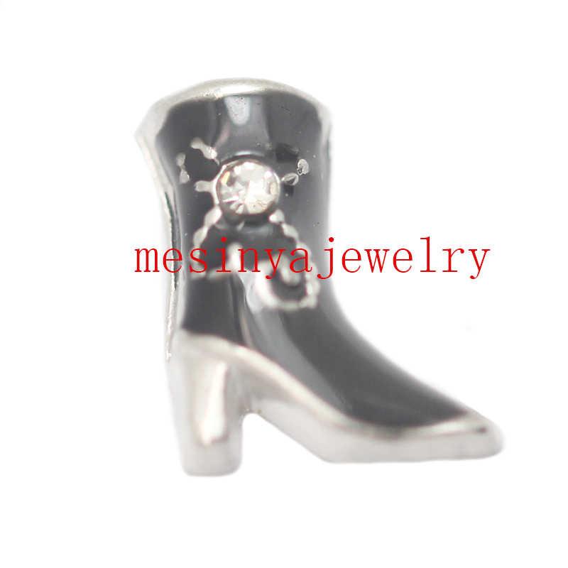 10 stks zwarte kleur Cowgirl laars drijvende bedels voor glas medaillon Min bedrag $15 per bestelling gemengde items, FC-206