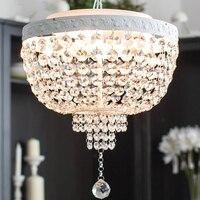 Cristal européennes feux Restaurant pendentif rond Noble métal peint salle à manger lampe suspendue Bar contre lampes suspendues