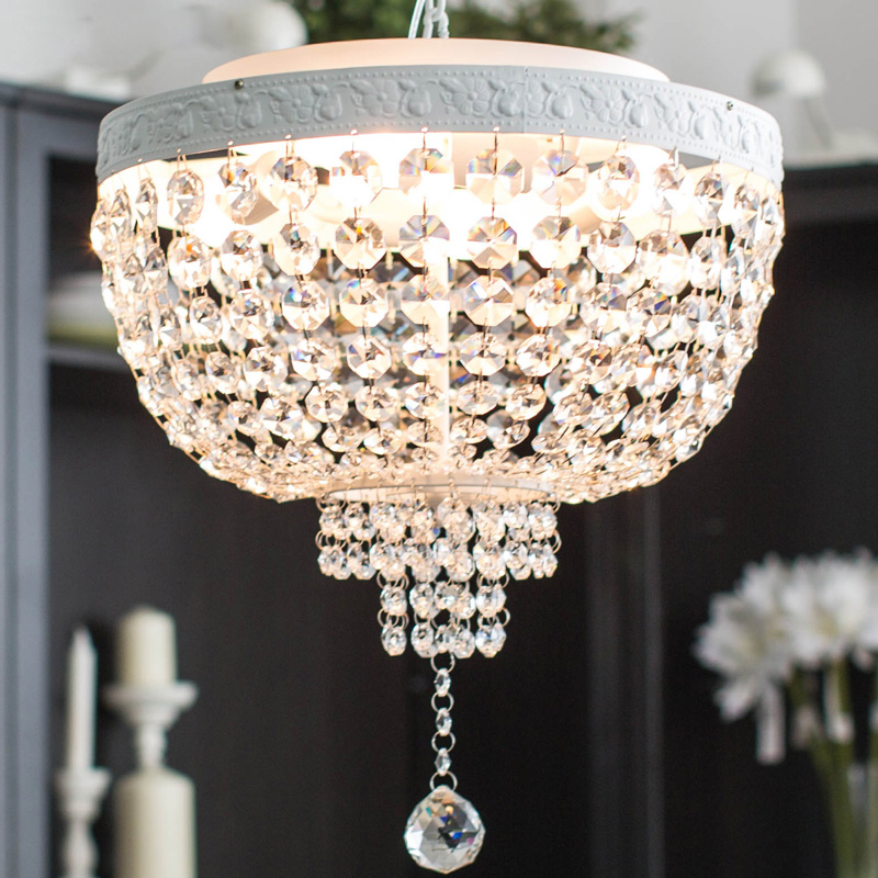 European Crystal Restaurant Pendant Lights Round Noble Painted Metal Dining Room Hanging lamp Bar Counter Pendant Lights
