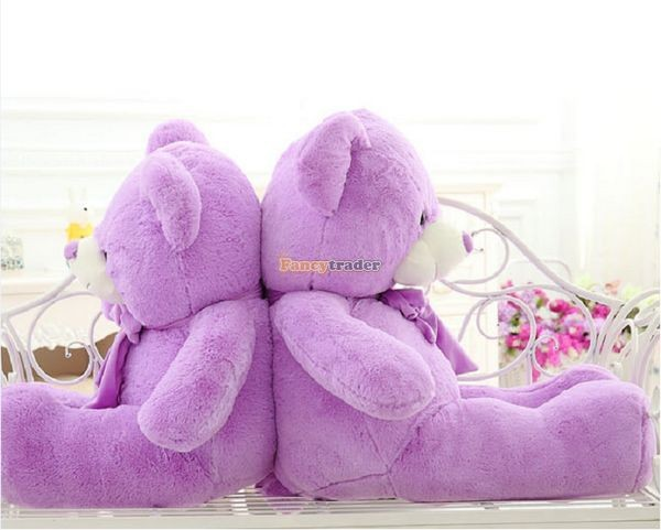 Fancytrader 1 pc 63\'\' 160cm Giant Cute Stuffed Soft Plush Lovely Fat Lavender Teddy Bear, Free Shipping FT50741 (7)