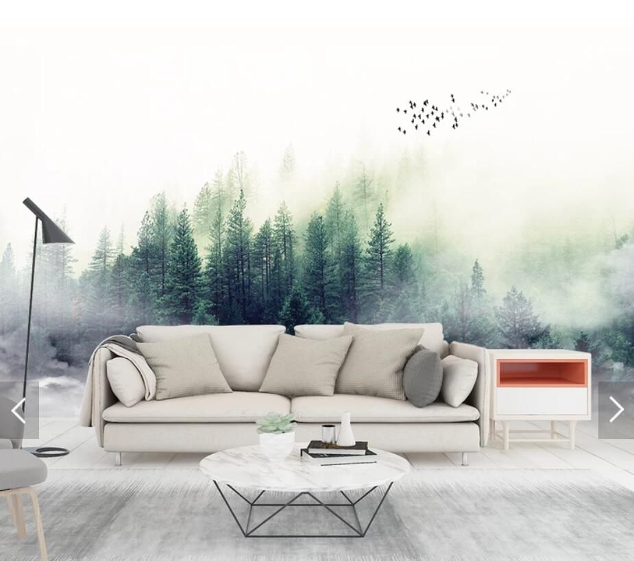Misty Forest Abstract Wallpaper Wall Mural 3D Photo Wall
