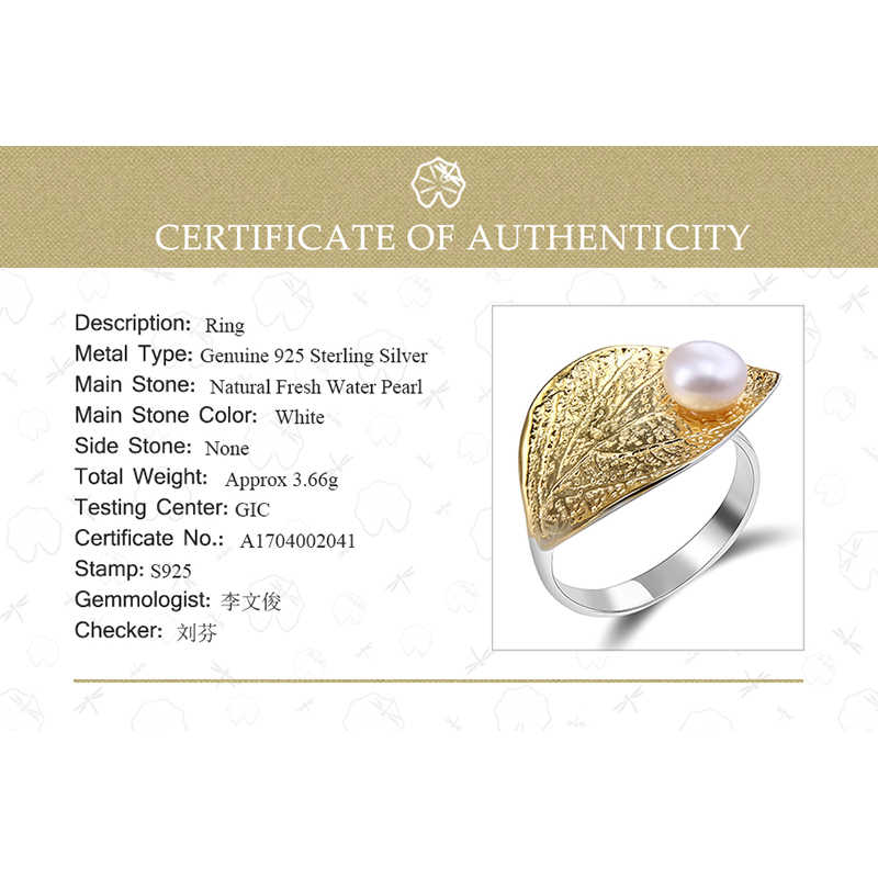 Lotus Fun, настоящее 925 пробы, серебро, натуральный жемчуг, 18 К, Золотое кольцо в виде листа, хорошее ювелирное изделие, креативный дизайн, открытые кольца для женщин, бижутерия
