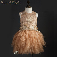 2018 Brand Luxury Tulle Flower Girl Dress Kids Wedding Dress Flower Appliques Bead Kids Party Prom Dress First Communion Dresses